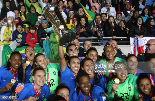 Brasil's women's national team players celebrate with the trophy after winning the women's Copa America final football match against Colombia at the...