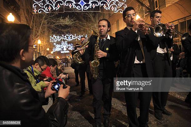 Brass band in night parade