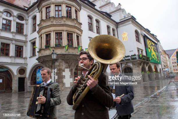 """Brass Band is playing as part of the pr stunt for the Amazon Original movie """"Der Prinz aus Zamunda 2"""" at Hofbräuhaus Munich on March 05, 2021 in..."""