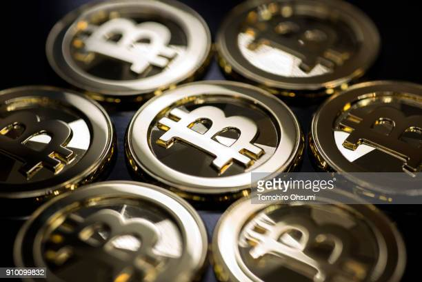 Brass bitcoin medals produced by Sakamoto Metal are seen at the company's workshop on January 25 2018 in Tokyo Japan Sakamoto Metal a custom medal...