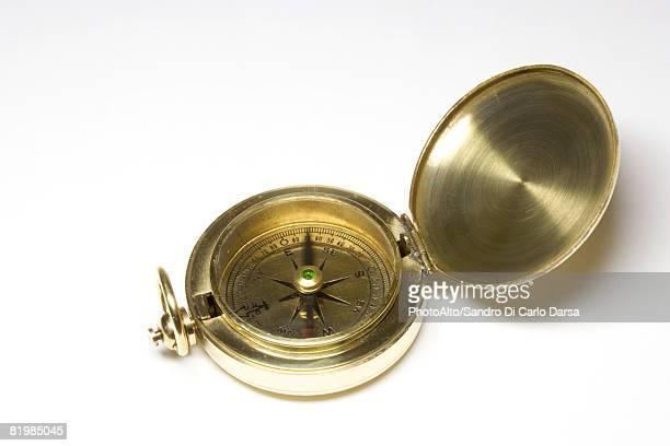 Brass compass, close-up