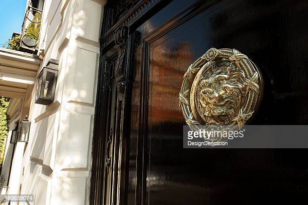brass door knocker, mayfair, london xxxl - door knocker stock photos and pictures