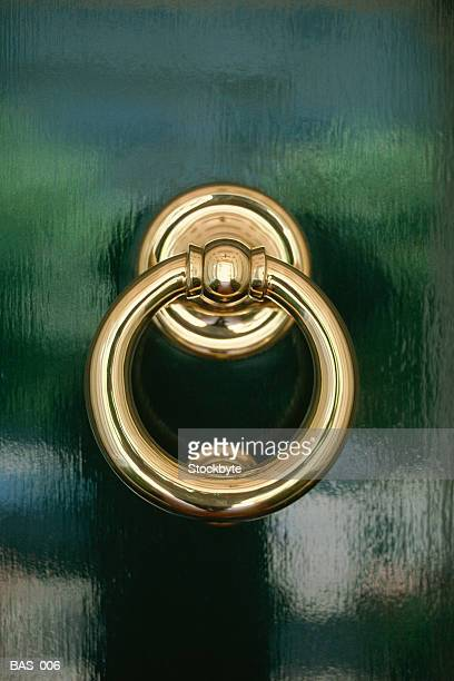 brass door knocker - door knocker stock photos and pictures
