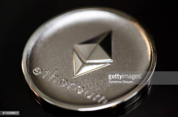 A brass ethereum virtual currency medal produced by Sakamoto Metal is seen at the company's workshop on January 25 2018 in Tokyo Japan Sakamoto Metal...
