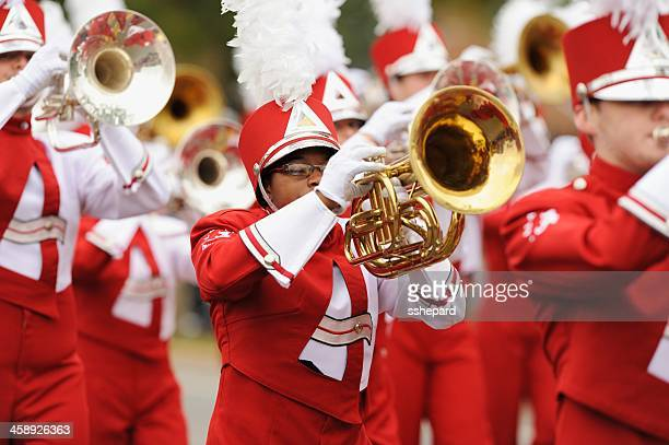 brass instrument player in ua million dollar band - marching band stock pictures, royalty-free photos & images