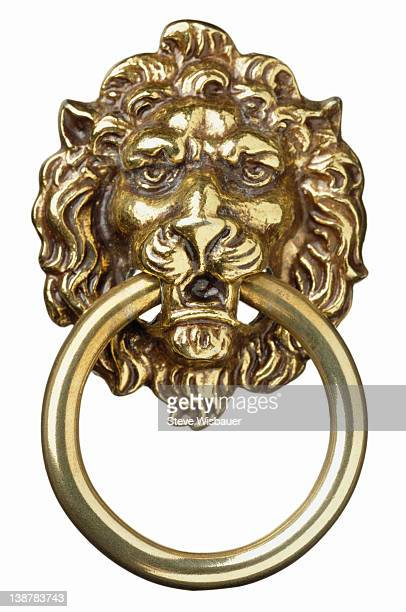 a brass lion's head door knocker - door knocker stock photos and pictures