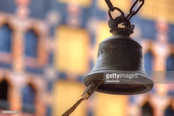 a brass meditation bell, hanging - paro district stock pictures, royalty-free photos & images