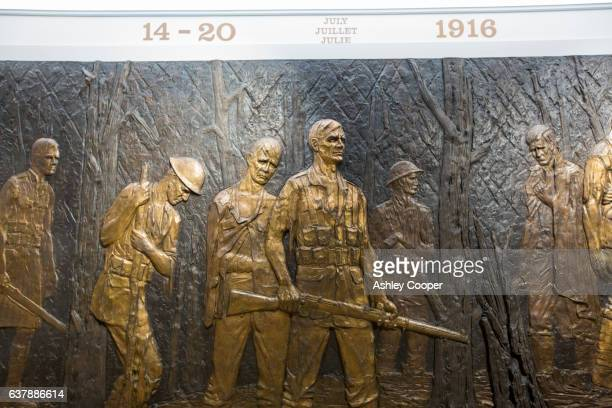 A brass plaque at the South African National Memorial at Delville Wood, in memory of all those South African soldiers who died at the Battle of the Somme, Longueval, France.