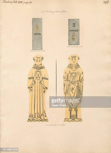 Brass plate for two Unidentified Clerics, from Barking Church, Daniel Lysons, 1762–1834, British, between 1796 and 1811, Pen and black ink,...
