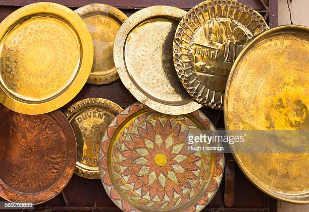brass plates in morocco - hugh hastings stock pictures, royalty-free photos & images