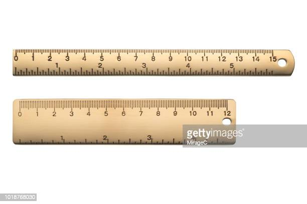 brass rulers scale in centimeters and inches - ruler stock photos and pictures