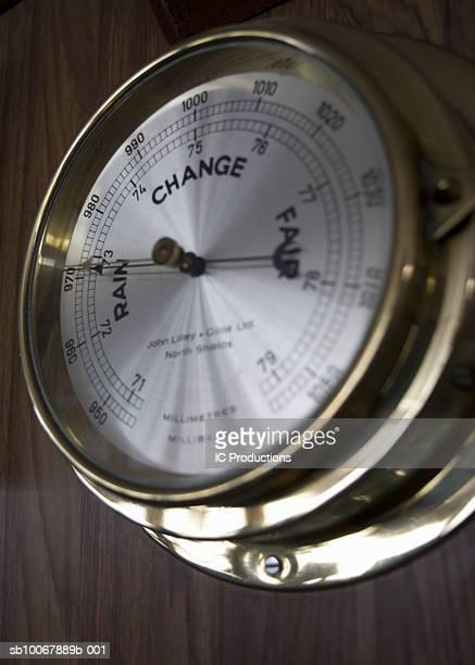 Brass ships barometer, close-up