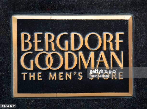 Brass sign at the entrance to the Bergdorf Goodman's Men's Store in Midtown Mahnattan, New York City. The men's store is an offshott of the nearby...