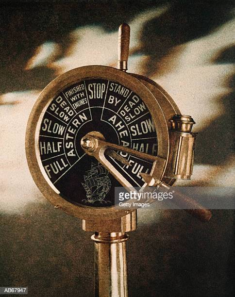 Brass Telegraph in ship engine room, close-up