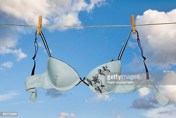 Brassiere hanging on clothesline