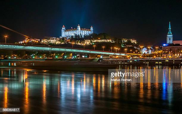 bratislava castle, bridge and danube, slovakia. - bratislava stock pictures, royalty-free photos & images