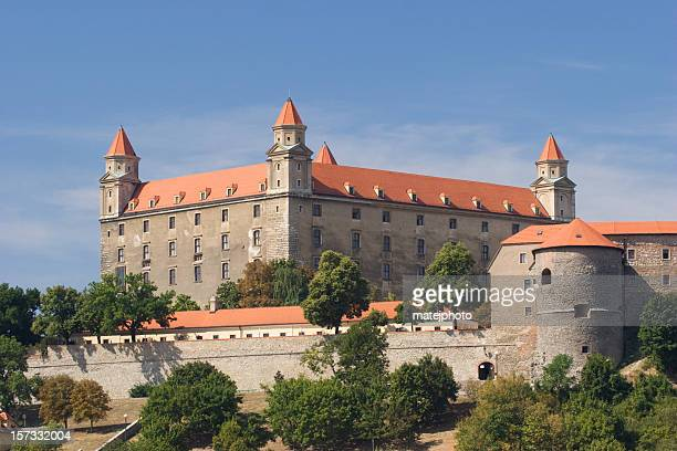 bratislava castle from downtown - bratislava stock pictures, royalty-free photos & images