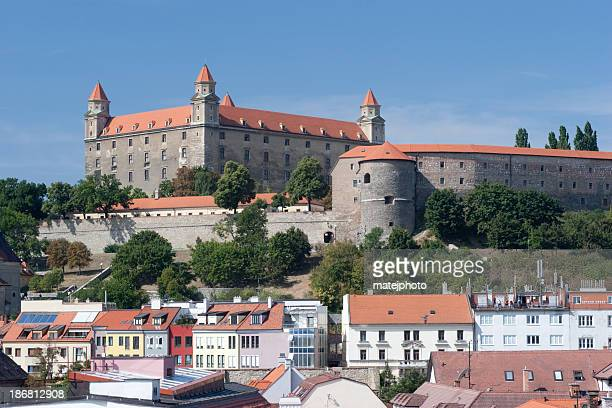 bratislava castle with new houses - bratislava stock pictures, royalty-free photos & images