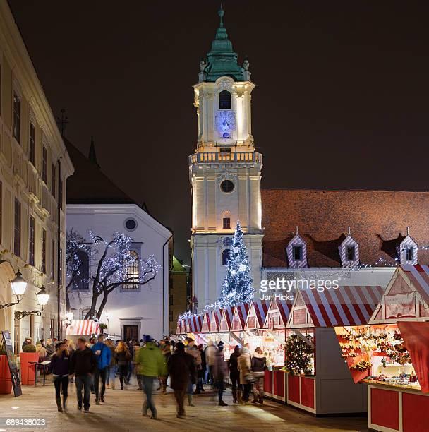 Bratislava Christmas Market and Town Hall.