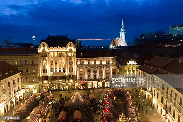 bratislava christmas market from above - bratislava stock pictures, royalty-free photos & images