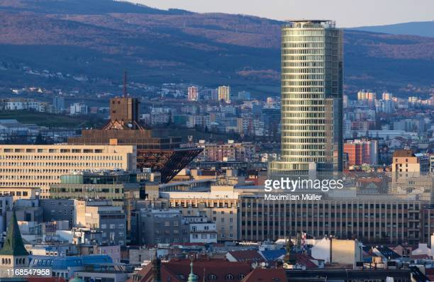 bratislava cityscape at dusk, slovakia - bratislava stock pictures, royalty-free photos & images