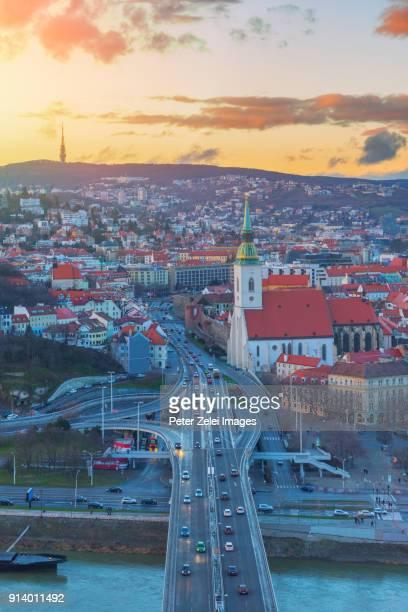 Bratislava cityscape at sunset