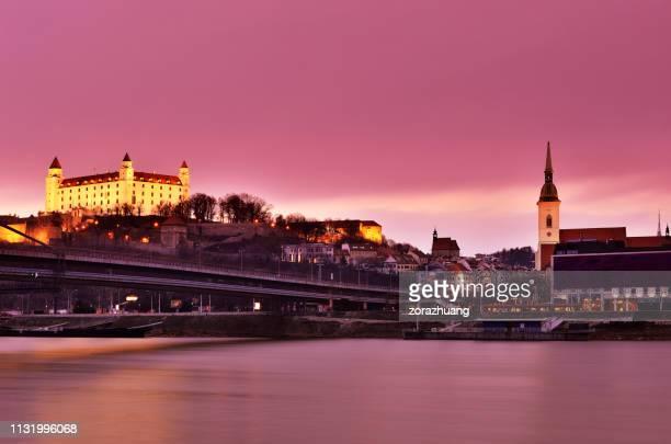 bratislava cityscape at sunset, slovakia - bratislava stock pictures, royalty-free photos & images