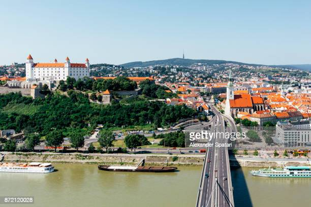 bratislava cityscape, high angle view, slovakia - slovakia stock pictures, royalty-free photos & images