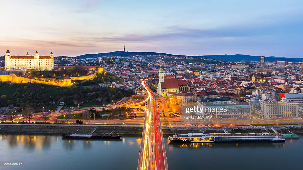 Bratislava Old Town from the Most SNP : Stock Photo