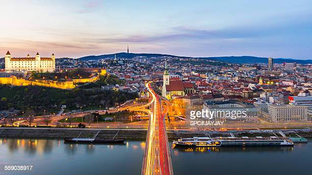 bratislava old town from the most snp - bratislava stock pictures, royalty-free photos & images