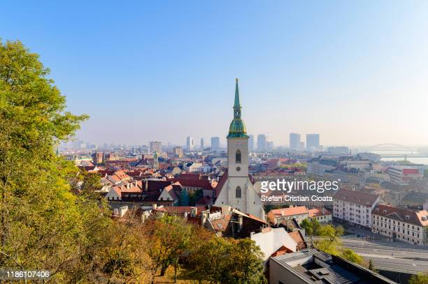 bratislava skyline and st martin's cathedral - bratislava stock pictures, royalty-free photos & images