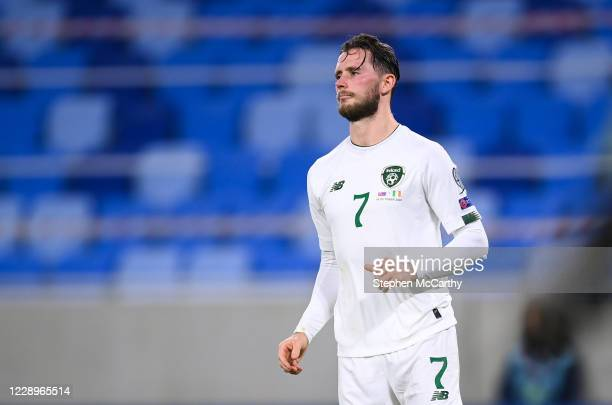Bratislava , Slovakia - 8 October 2020; Alan Browne of Republic of Ireland reacts after missing his penalty during the penalty-shootout of the UEFA...