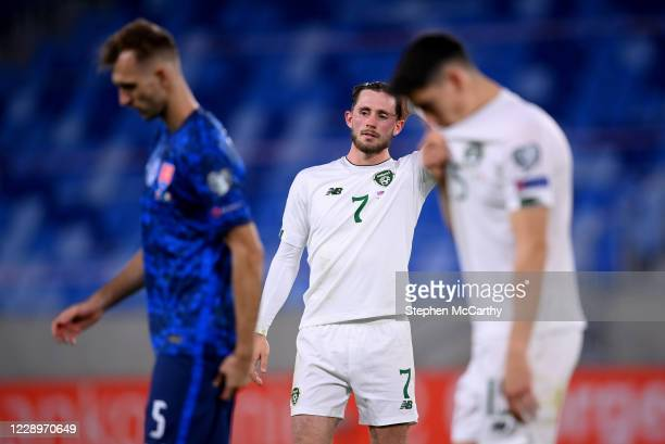Bratislava , Slovakia - 8 October 2020; Alan Browne of Republic of Ireland reacts following the UEFA EURO2020 Qualifying Play-Off Semi-Final match...