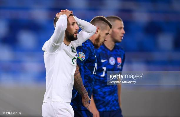 Bratislava , Slovakia - 8 October 2020; Conor Hourihane of Republic of Ireland reacts after a missed opportunity on goal during the UEFA EURO2020...