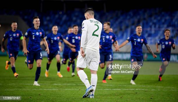 Bratislava , Slovakia - 8 October 2020; Matt Doherty of Republic of Ireland reacts after missing a penalty in the shoot-out following the UEFA...
