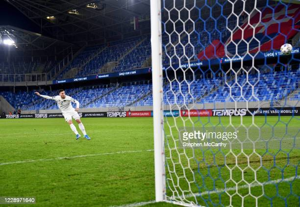 Bratislava , Slovakia - 8 October 2020; Matt Doherty of Republic of Ireland takes a penalty during the shoot-out following the UEFA EURO2020...