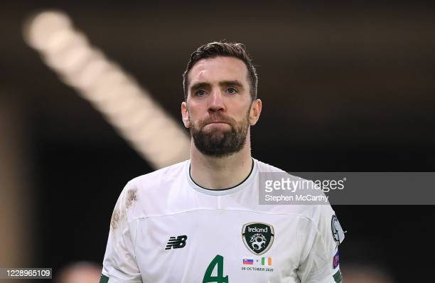 Bratislava , Slovakia - 8 October 2020; Shane Duffy of Republic of Ireland reacts following defeat in the penalty-shootout of the UEFA EURO2020...