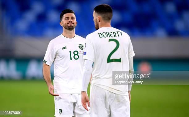 Bratislava , Slovakia - 8 October 2020; Shane Long, left, and Matt Doherty of Republic of Ireland following the UEFA EURO2020 Qualifying Play-Off...