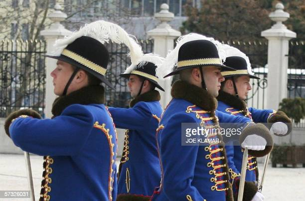 Picture taken 12 April 2006 shows the Change of Guards at Bratislava's Presidential palace during South Korean Foreign Minister Ki-Moon Ban's meeting...