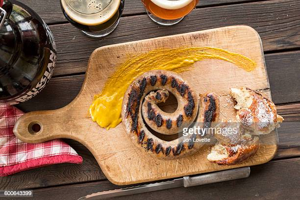 Bratwurst pretzel and beer
