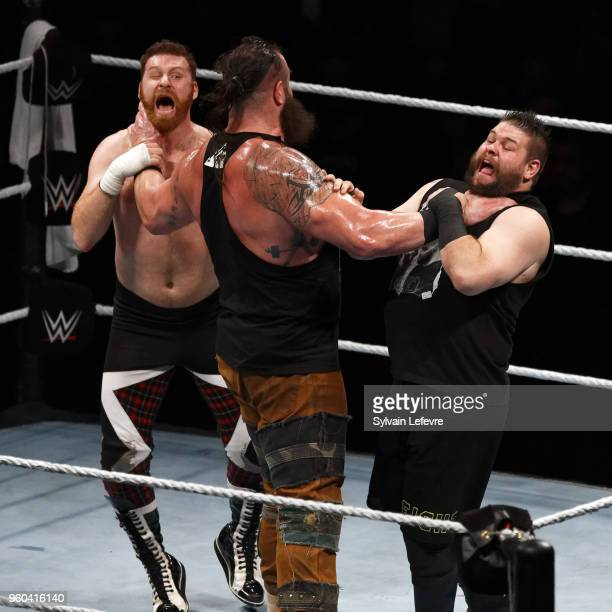 Braun Strowman in action vs Sami Zayn and Kevin Owens during WWE Live AccorHotels Arena Popb Paris Bercy on May 19 2018 in Paris France