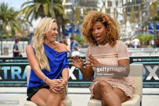 Braunwyn WindhamBurke and Tanika Ray visit Extra at Universal Studios Hollywood on July 23 2019 in Universal City California