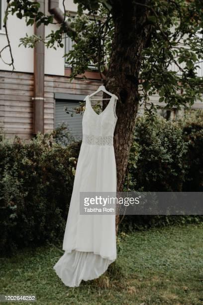 brautkleid hochzeitskleid vintage hängt an einem baum - baum stock pictures, royalty-free photos & images