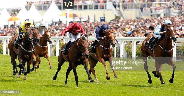 Brave Anna ridden by Seamie Heffernan leads the field home before going on to win The Albany Stakes Race run during Day Four of Royal Ascot at Ascot...