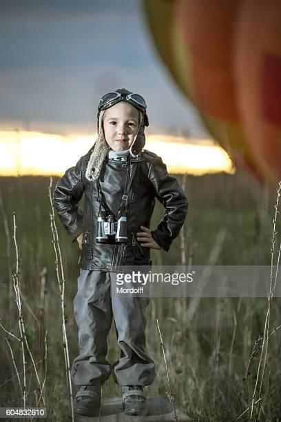 Brave Aviator Boy At Sunset