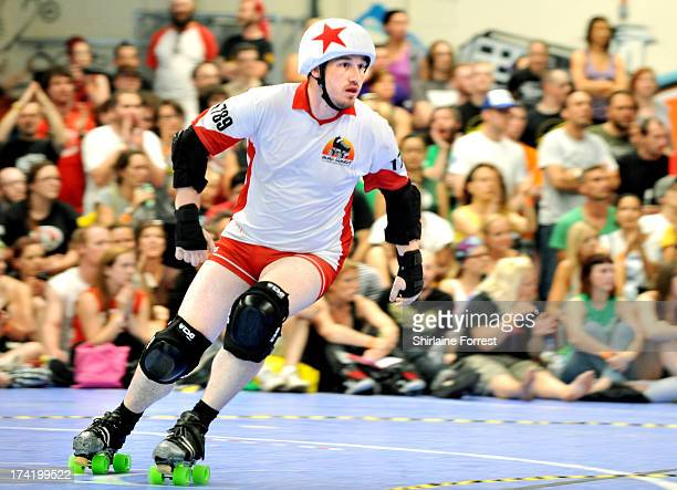 Brave Hurt of Quad Guards competes in the final of Mens European Roller Derby Championships at Futsal on July 21 2013 in Birmingham England