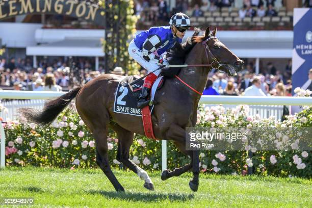 Brave Smash ridden by Craig Williams heads to the barrier before the Lexus Newmarket Handicap at Flemington Racecourse on March 10 2018 in Flemington...