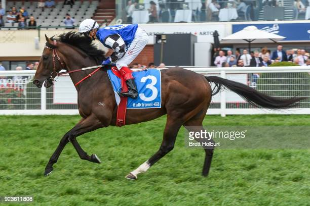 Brave Smash ridden by Craig Williams heads to the barriers before the italktravel Futurity Stakes at Caulfield Racecourse on February 24 2018 in...
