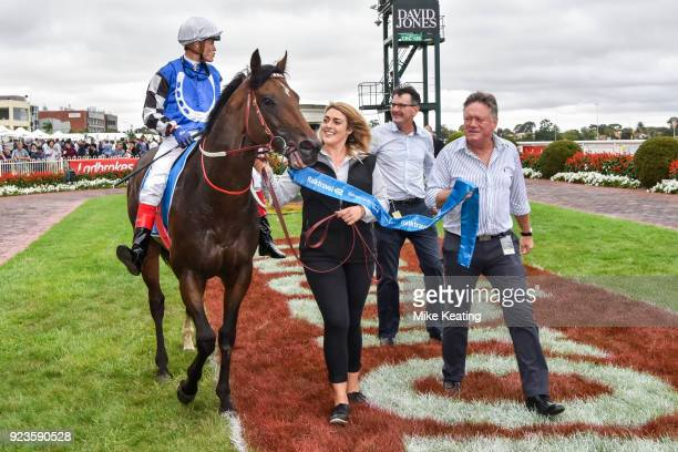 Brave Smash ridden by Craig Williams parades in the mounting yard after winning the italktravel Futurity Stakes at Caulfield Racecourse on February...