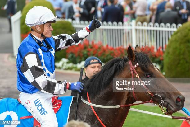 Brave Smash ridden by Craig Williams returns to the mounting yard after winning the italktravel Futurity Stakes at Caulfield Racecourse on February...